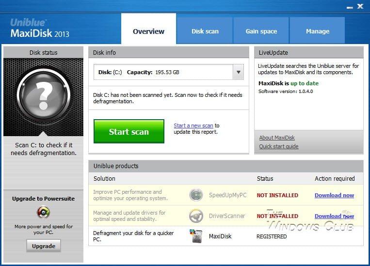 Revisión y descarga de MaxiDisk 1