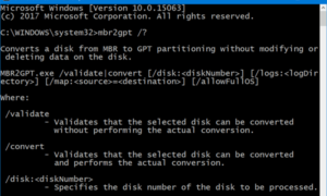 La herramienta de la conversión del disco de MBR2GPT en Windows 10