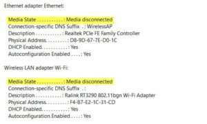Mensaje de error de medios desconectados en Windows 10