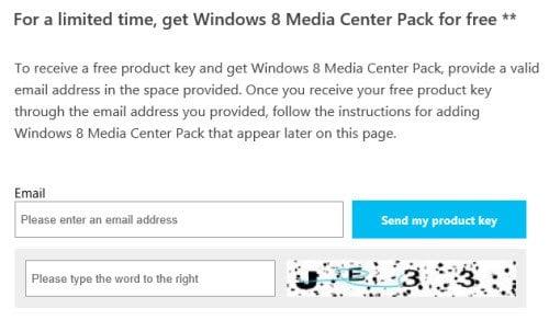 Obtenga Windows 8 Media Center Pack gratis