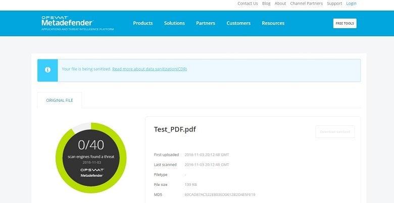Metadefender Cloud: Herramienta de seguridad gratuita para comprobar vulnerabilidades y desinfectar archivos 1