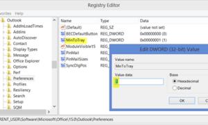 Cómo minimizar Outlook to System Tray en Windows 10/8.1