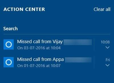 Cómo obtener notificaciones de llamadas perdidas en su PC con Windows 10