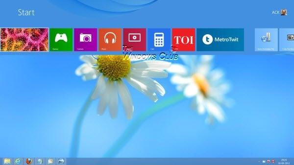 Abrir la pantalla de inicio de Metro en el modo de escritorio en Windows 8 con el modificador del menú Inicio 1