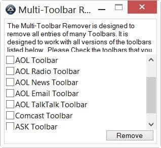 Herramientas gratuitas de limpieza y eliminación de barras de herramientas para sus navegadores 3