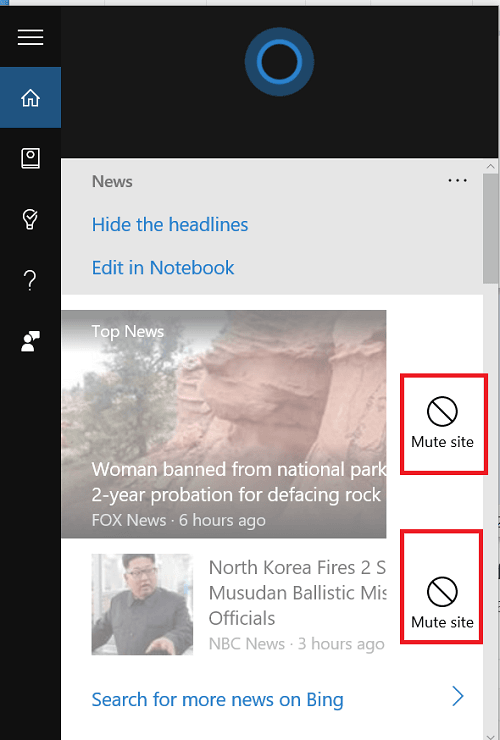 Cómo silenciar fuentes no deseadas de Cortana News en Windows 10