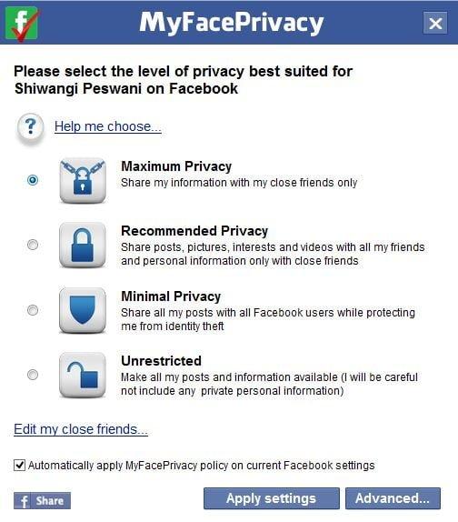 MyFacePrivacy: Software gratuito para administrar la configuración de privacidad de Facebook, Twitter y LinkedIn 2