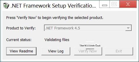 Herramienta de verificación de la configuración de .NET Framework - Verificar la integridad de la instalación de .NET 1