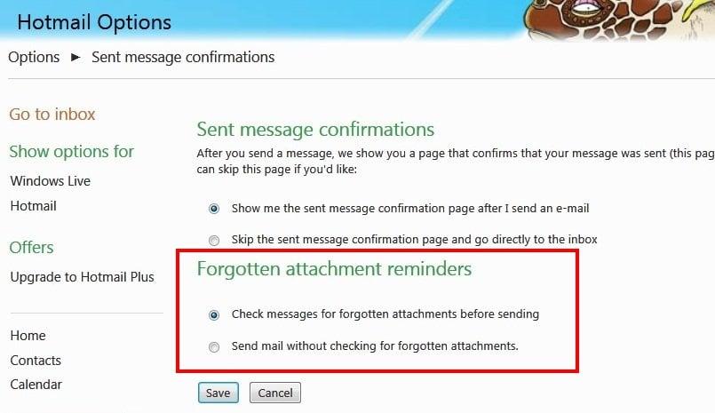 El recordatorio de adjuntos de correo de Hotmail te recuerda que debes adjuntar archivos adjuntos olvidados.