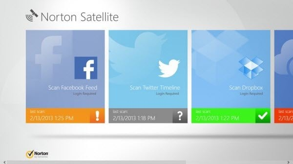 La aplicación Norton Satellite para Windows 8 analiza los enlaces de medios sociales y el contenido de la nube en busca de malware