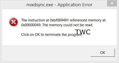 ¿Qué es nvxdsync? Corregir error de aplicación nvxdsync.exe