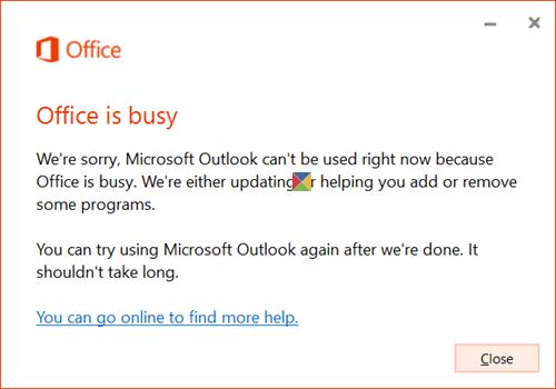 Mensaje de Office ocupado al abrir cualquier programa de Office