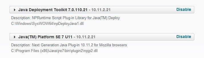 Desinstalar o desactivar Java en Internet Explorer, Firefox, Chrome, Opera