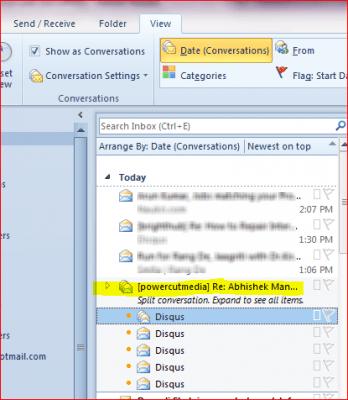 Función de vista de conversación en Microsoft Outlook 2010