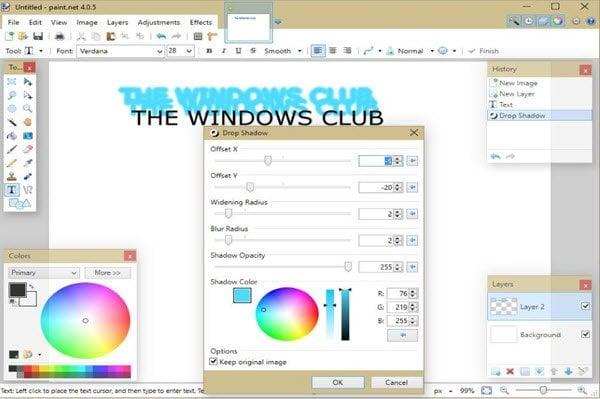 Cómo crear efectos de sombra en Paint.NET