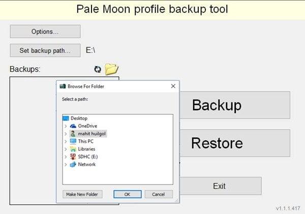 La Herramienta de Respaldo de Perfil de Luna Pálida le permite respaldar fácilmente el perfil de usuario y los datos del navegador de Luna Pálida.