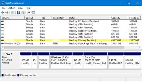 Faltan particiones después de instalar Windows 10 Anniversary Update