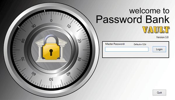 Password Bank Vault encripta y almacena todas sus contraseñas de forma segura.