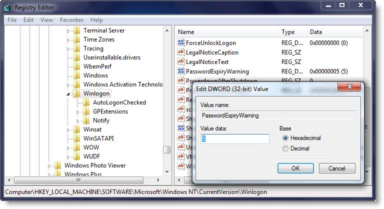 Cómo cambiar el período predeterminado de aviso de expiración de contraseña en Windows 10