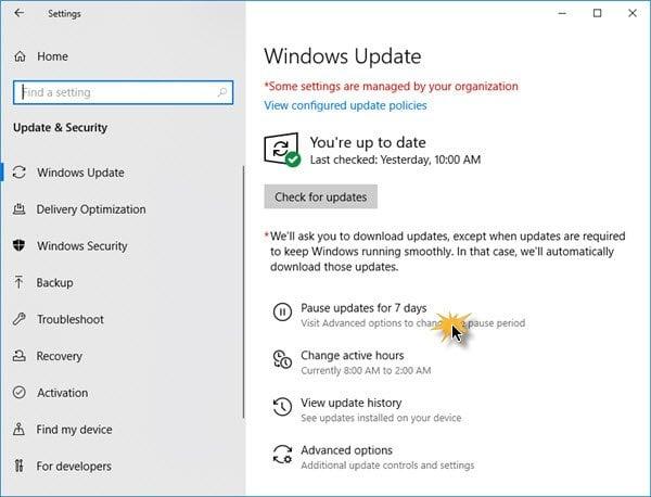 Cómo pausar, retrasar y diferir las actualizaciones de Windows hasta 365 días en Windows 10 1
