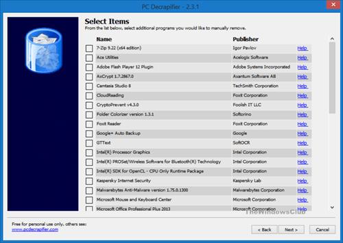 DeCrapifier PC: Identificar y eliminar los desechos de Windows 10/8/7