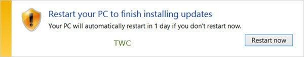 Impedir que Windows se reinicie automáticamente después de Windows Update 1