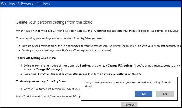 Desactivar y quitar datos de sincronización de OneDrive en Windows 10/8.1 2
