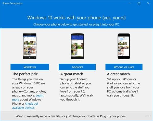 Aplicación Microsoft Phone Companion en Windows 10