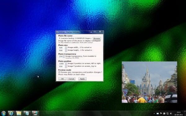 Superponer o mostrar otra imagen o foto en el fondo de escritorio de Windows