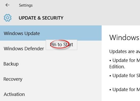 Pin to Start, Windows Update y otras configuraciones, en Windows 10