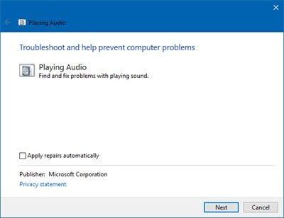 El servicio de audio no funciona en Windows 10/8/7 3