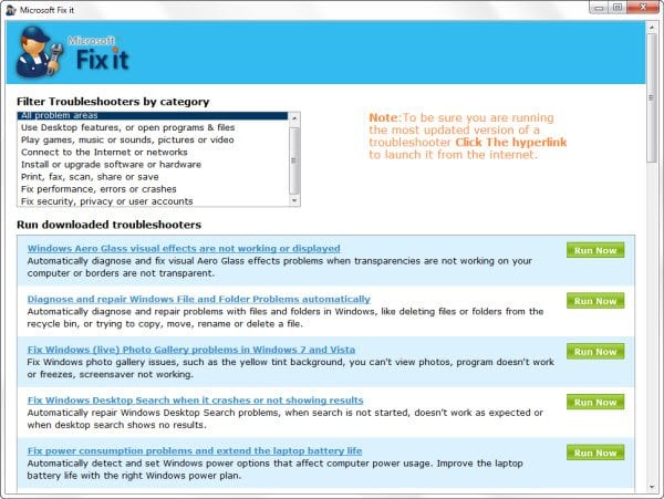 Descargar Portable Fix It Troubleshooters Suite desde Microsoft 2