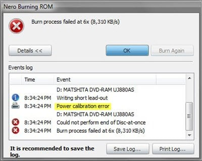 Error en el proceso de grabación - Error de calibración de potencia o error de velocidad media al grabar CD/DVD 1