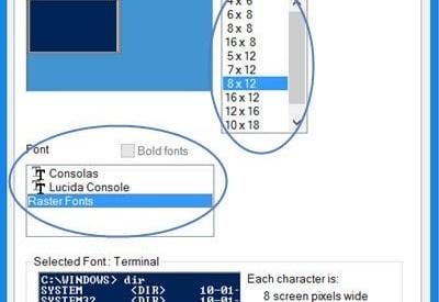 La fuente y la ventana de Windows PowerShell son demasiado pequeñas
