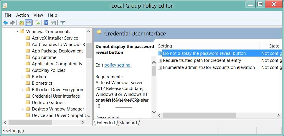 Cómo activar o desactivar el botón de revelación de contraseña en Windows 10/8 2