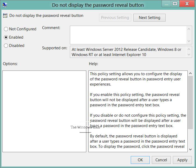 Cómo activar o desactivar el botón de revelación de contraseña en Windows 10/8 3