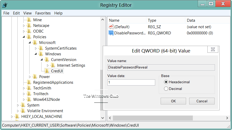 Cómo activar o desactivar el botón de revelación de contraseña en Windows 10/8 5