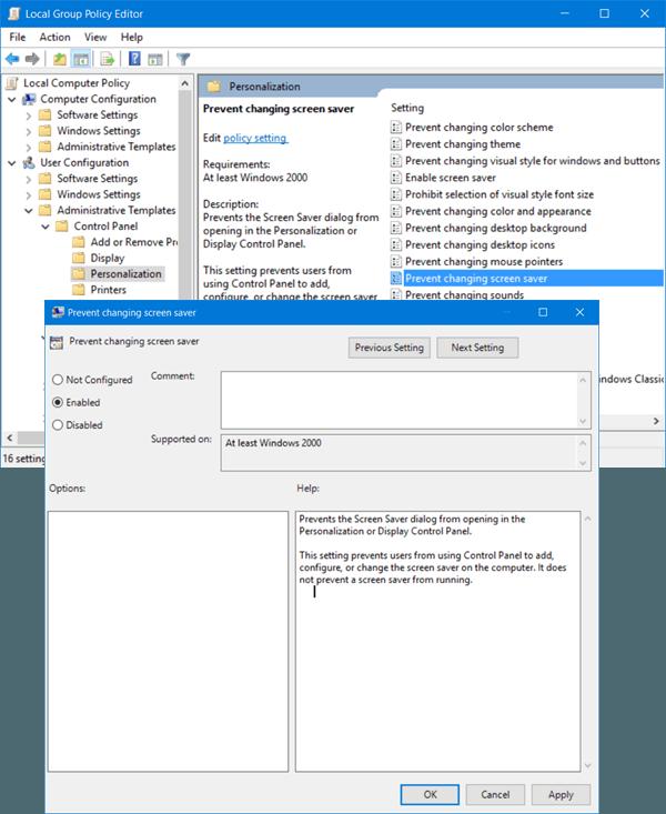 Cómo evitar que los usuarios cambien el protector de pantalla en Windows 10