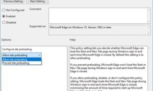 Impedir que Windows 10 cargue previamente Microsoft Edge al iniciar