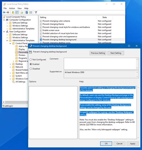 Evitar que los usuarios cambien el fondo de escritorio en Windows 10