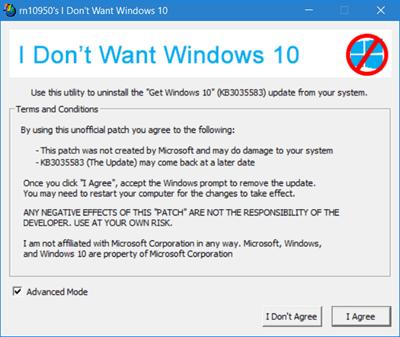 3 herramientas gratuitas para bloquear Windows 10 Upgrade: Never10, I Dont Want Windows 10, GWX