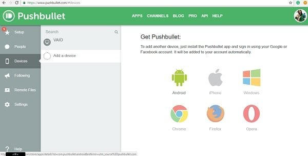 Pushbullet: Aplicación gratuita para transferir datos de Windows PC a teléfono, tableta, etc. 1