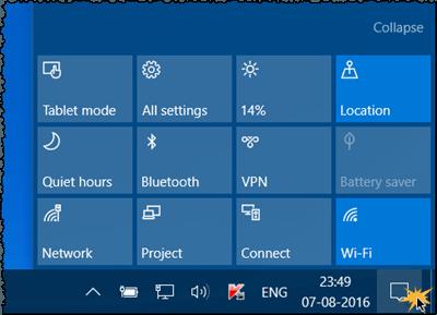 Agregar, quitar y organizar botones de acción rápida en Windows 10 1