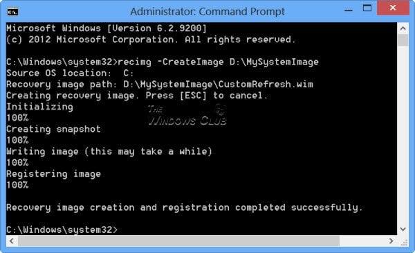 Crear una imagen de sistema personalizada para usar en Windows 8 Actualizar la característica de su PC