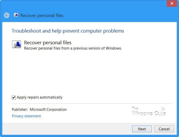 Recuperar archivos de la carpeta Windows.old en Windows con la herramienta Recuperar archivos personales