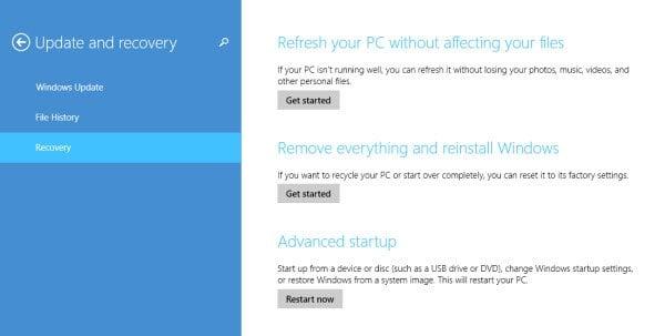Opciones de Windows Update y Recovery en Windows 8.1 5