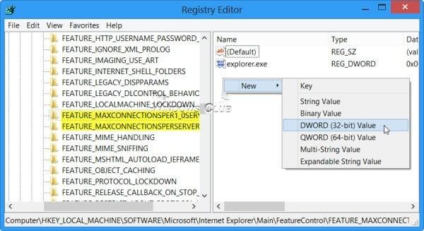 Configurar Internet Explorer para descargar hasta 10 archivos a la vez