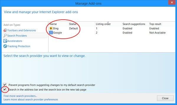 Agregar o quitar la barra de búsqueda de Bing de Internet Explorer Nueva pestaña