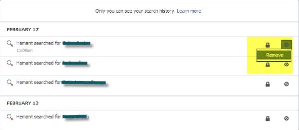 Eliminar o eliminar todo el historial de búsqueda de Facebook 3