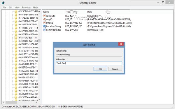 Renombrar la papelera de reciclaje a través del Registro para todos los usuarios de Windows 10/8/7